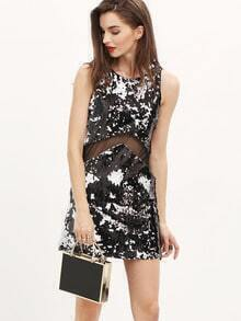 Black White Sleeveless Contrast Mesh Yoke Sequined Dress