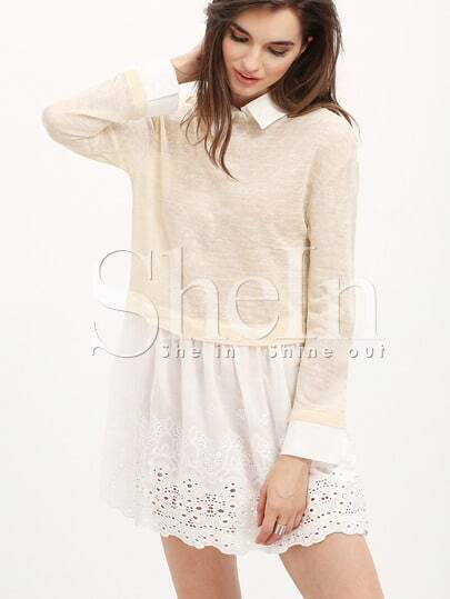 apricot white lapel color block dress shein sheinside