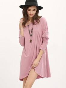 Purple Round Neck Casual Dress