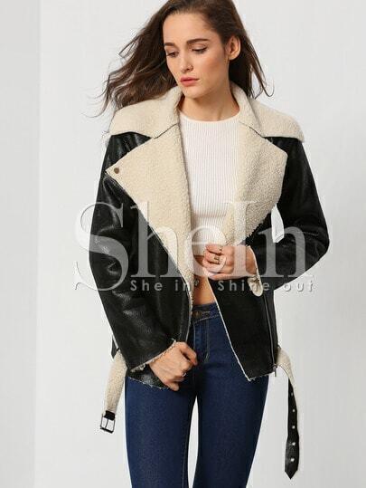 Black Long Sleeve Lapel Jacket