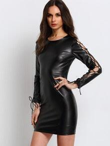Black Lace Up Sleeve PU Leather Dress