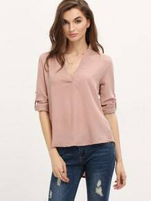 Pink V Neck Slim Blouse