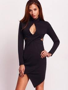 Black Long Sleeve Cut Out Asymmetric Dress