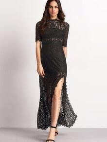 Black Half Sleeve Lace Split Maxi Dress