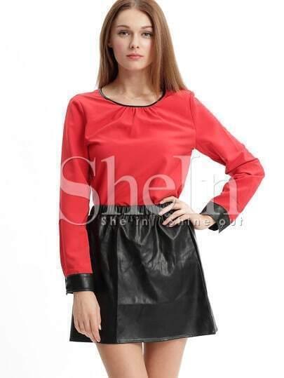 Red Long Sleeve Top With PU Leather Skirt