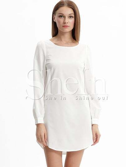 Beige Long Sleeve Casual Dress -SheIn(Sheinside)