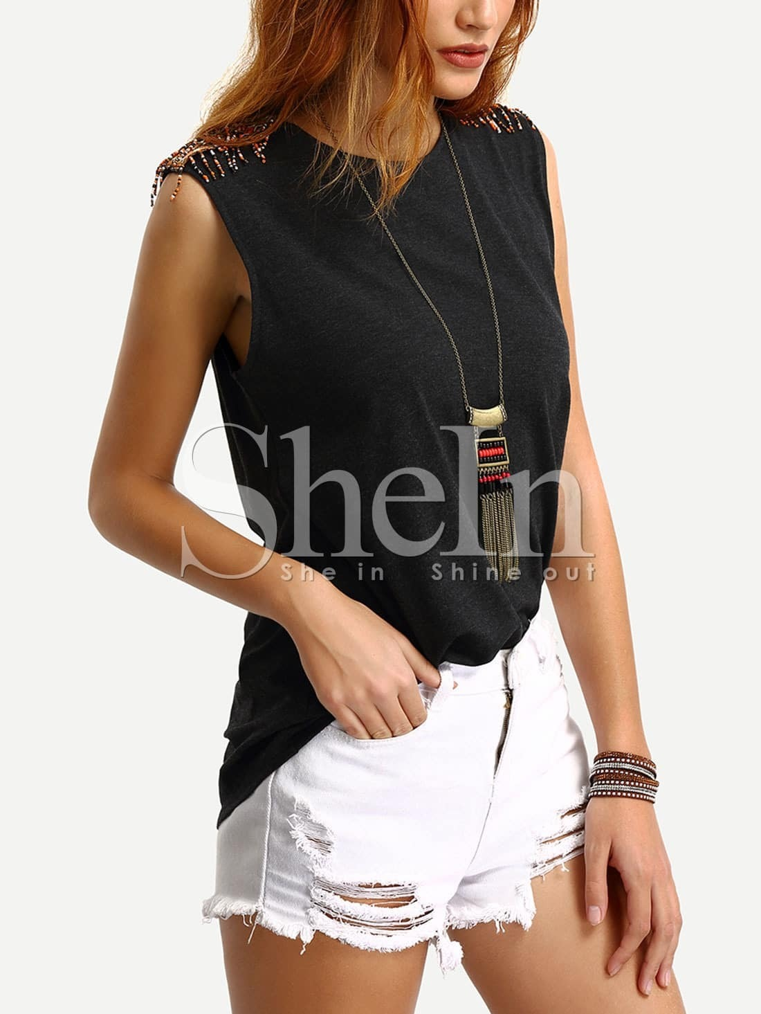 Black Sleeveless Beaded Accent Shoulder T Shirt Shein