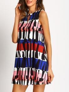 Multicolor Sleeveless Print Hollow Shift Dress