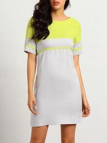 With Zipper Shift Neon Yellow Dress