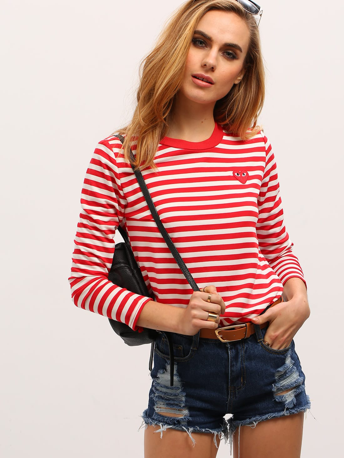 Red White Long Sleeve Striped T-Shirt thumbnail