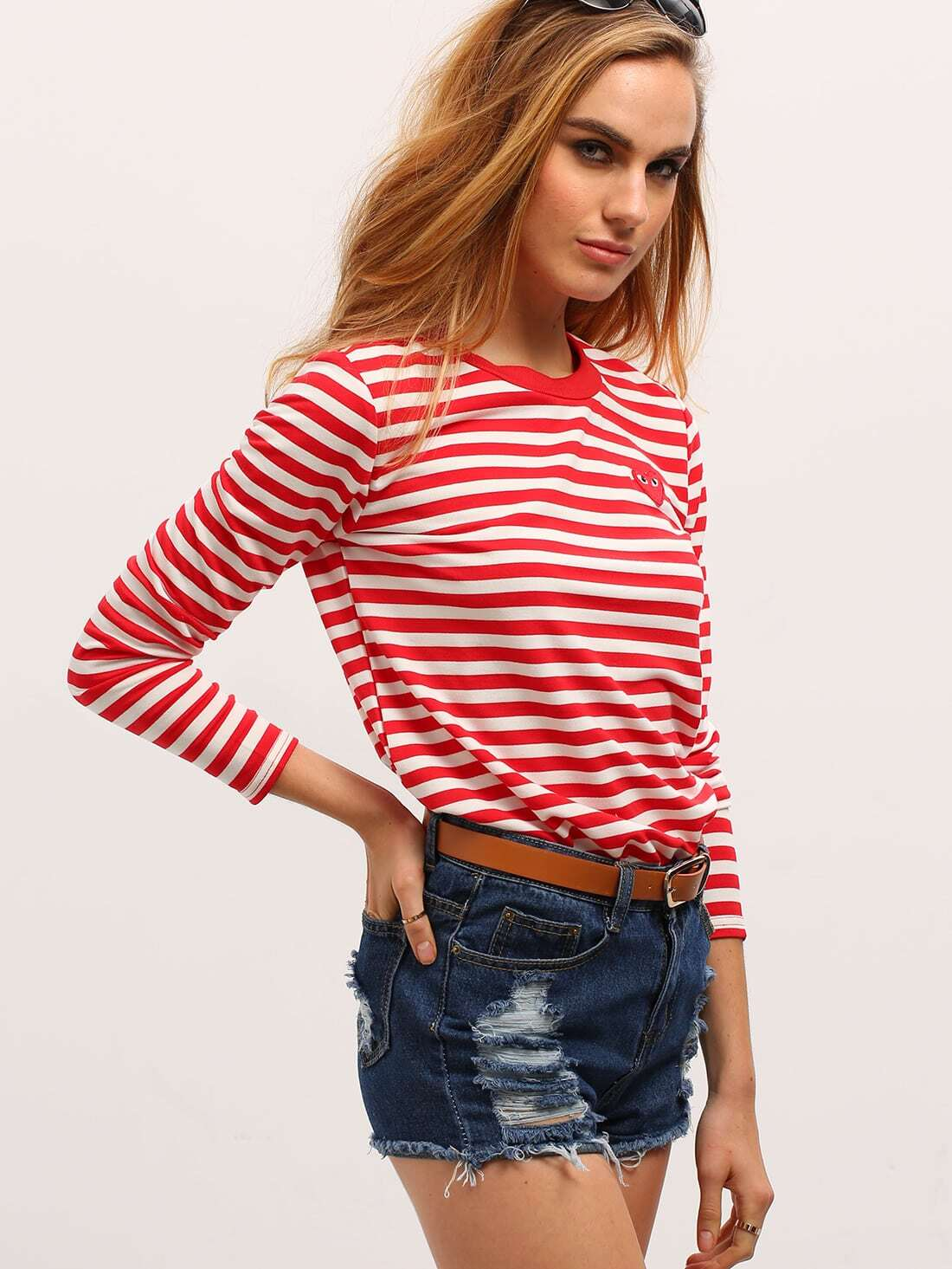 Red white long sleeve striped t shirt shein sheinside Striped long sleeve t shirt