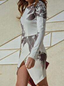 White Long Sleeve Random Patterns Hibiscus Floral Print Wrap Dress