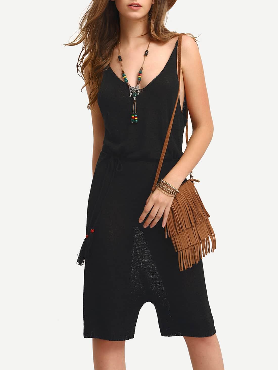 Black Spaghetti Strap V Back Jumpsuit jumpsuit160420534