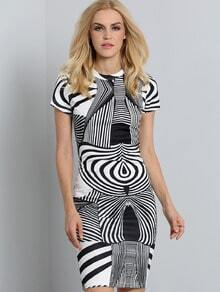 White Black Short Sleeve Abstract Print Dress