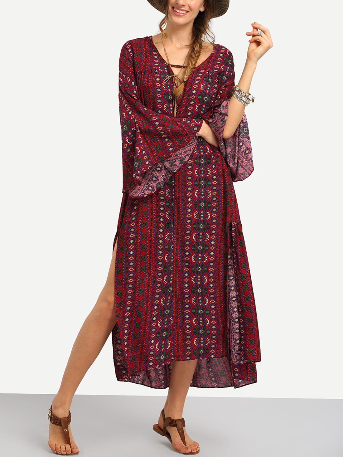 Tribal Print Slit Side Long Dress tribal print dress
