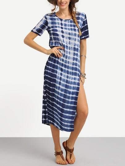 Striped Tie Dye Print Slit Dress