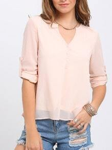 Apricot Ajustable Cuff High Low Blouse