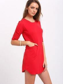 Red Twin Pocket Half Sleeve Dress