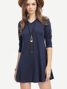 Navy V Neck Long Sleeve Loose Dress