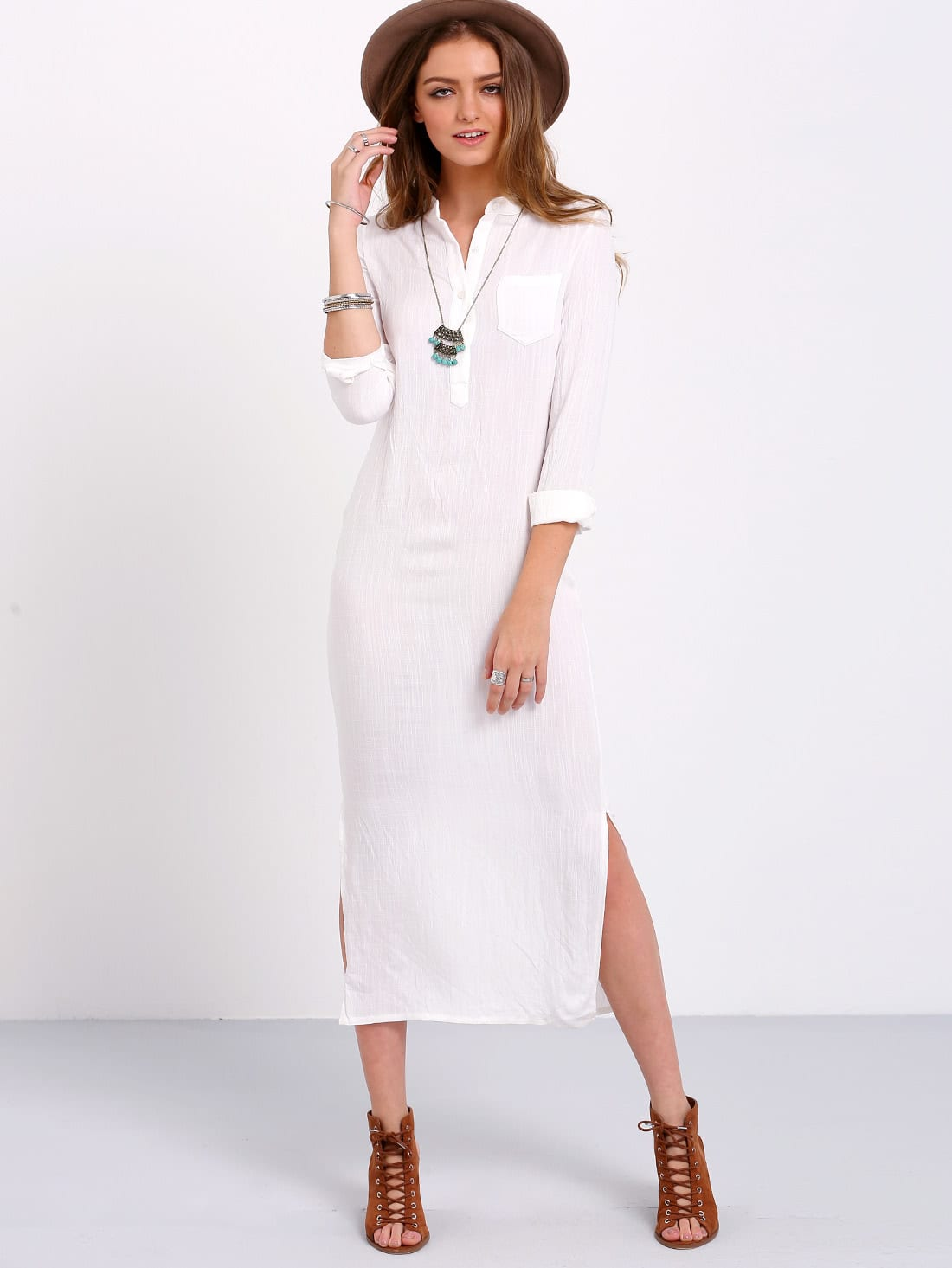 Split Side Shirt Dress With Pocket Shein Sheinside