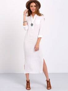 White Long Sleeve Split Long Dress