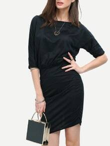 Oblique Shoulder Folds Bodycon Black Dress