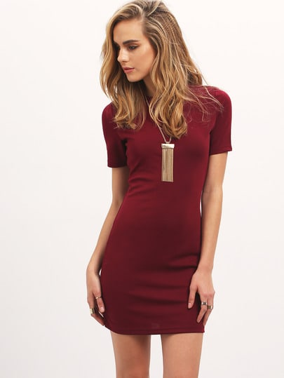 Robe moulante col rond -rouge bordeaux