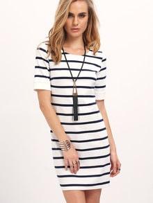 Breton Stripe Shirt Sleeve Dress
