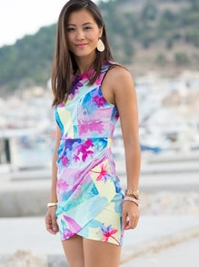 Multicolour Sleeveless Floral Print Dress