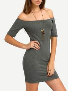 Grey Short Sleeve Off The Shoulder Bodycon Dress