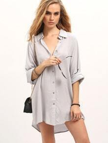 Grey Deep V Neck Shirt Dress