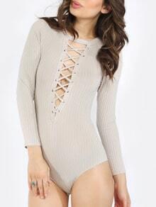 Grey Long Sleeve Lace Up Ribbed Bodysuit