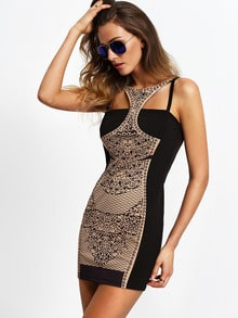Black Cut Out Print Bodycon Dress