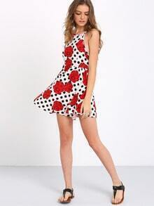 Multicolor Backless Polka Dot Floral Dress