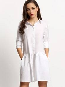 White Drop Waist Hem Shirt Dress