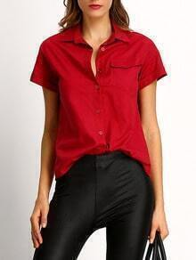 Burgundy Lapel Pockets Blouse