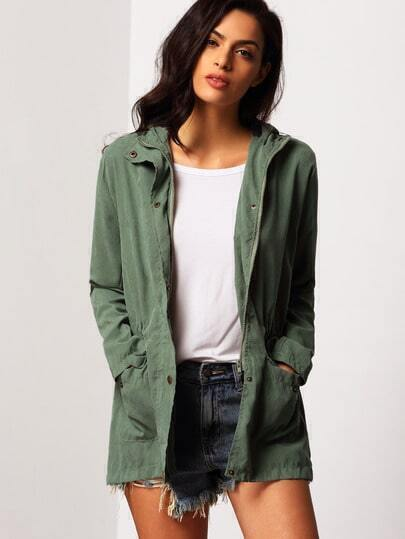 Hooded Drawstring Pockets Army Green Coat