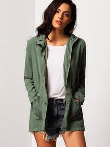 Hooded Drawstring Pockets Army Green Coat