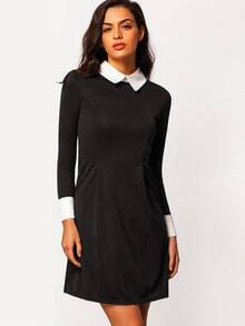 Peterpan Contrast Collar Zipper Suiting Colorblock Back Shirt Dress