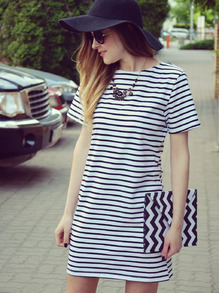Black White Striped Short Sleeve Straight Dress -SheIn(Sheinside)