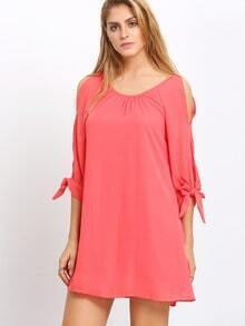 Pink Cut-out Knotted Sleeve Shift Dress