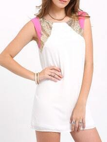 White Sleeveless Color Block Sequined Shift Dress