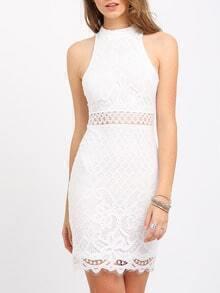 White Mock Neck Keyhole Lace Bodycon Dress