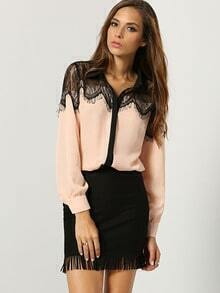 Pink Long Sleeve Contrast Lace Blouse