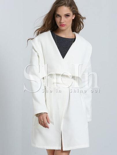 White Lapel Pockets Trench Coat