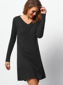Black Scoop Neck Long Sleeve Dress
