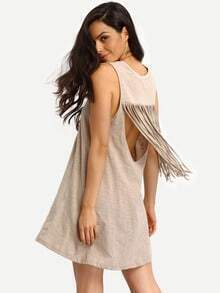Brown Sleeveless Fringe Back Shift Dress