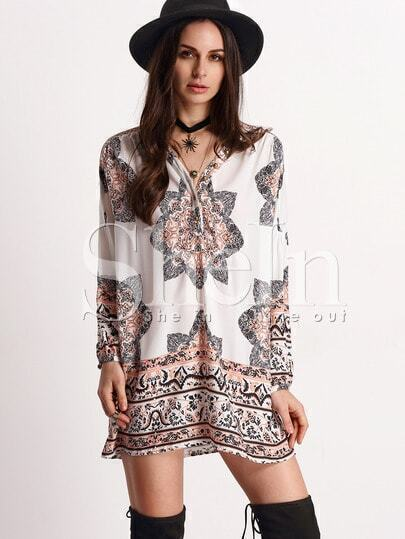 Multicolor Long Sleeve V Neck Vintage Print Dress