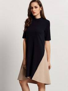 Color-block Mock Neck Elbow Sleeve Dress