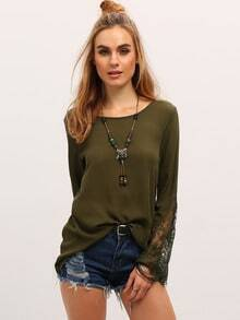 Army Green Long Sleeve With Lace Blouse